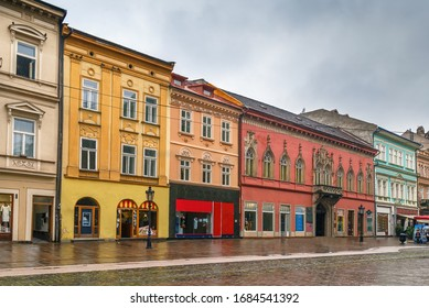 Street with historical houses in Kosice old town, Slovakia