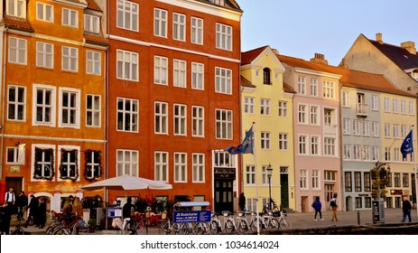 Street and home of Hans Christian Anderson, famous children author. Nyhavn, Copenhagen, Denmark.  February 2018