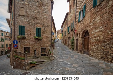 Street and houses in Montepulciano. Characteristic street and houses in small historic medieval village Montepulciano, Tuscany, Italy