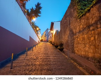 Street in Icod de los Vinos in Tenerife next to the millenary Drago. Image at nightfall
