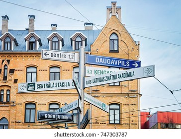 Street indicators at Riga, Latvia