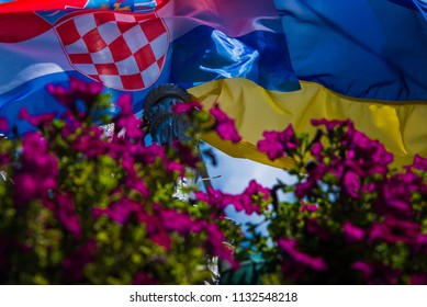 Street Kiev, Ukraine hung flag of Croatia to support the national team at the World Cup which takes place in Russia. 12,07,2018