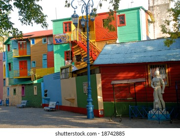 Street La Boca - Caminito, Buenos Aires, Argentina. Typical colorful houses and facades in the famous La Boca district in Buenos Aires, Argentina.