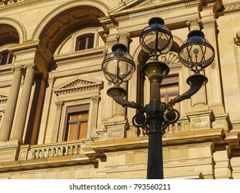 Street lamp against the facade of the historic old Treasury Building in Melbourne.