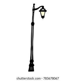 Street Lamp illustration. Doodle style. Design, print, decor, textile, paper