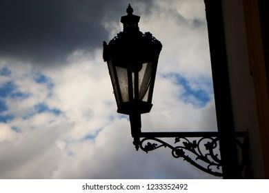 Street lamp in Mikulov Castle in the town of Mikulov in South Moravia, Czech Republic