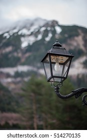 Street lamp up in a mountain village