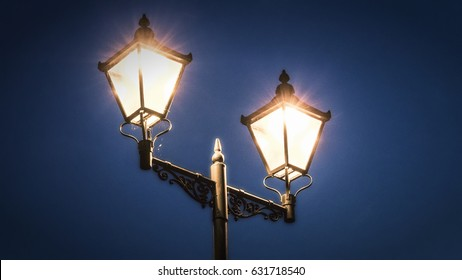 Street lamp at Night in the City