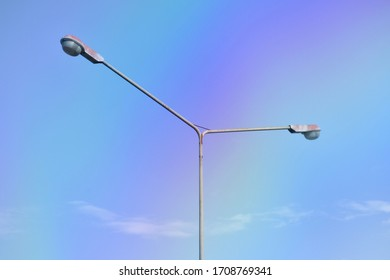 Street lamp on a background of blue sky. Copy space