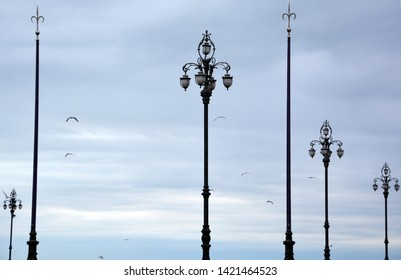 Street lamp on Piazza Unita d'Italia against blue sky Trieste Italy. Trieste is the capital of the autonomous region Friuli-Venezia Giulia