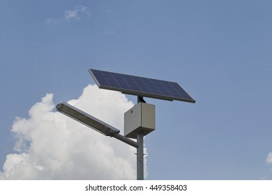 Street lamp with solar panel in Archaeological complex Abritus, Razgrad, Bulgaria