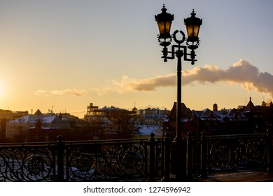 street lamp. View from the Patriarch's bridge in winter. Moscow. near the Cathedral of Christ the Saviour