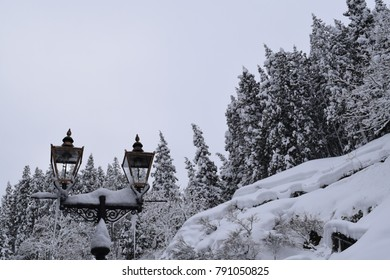 Street Lamps covered in snow