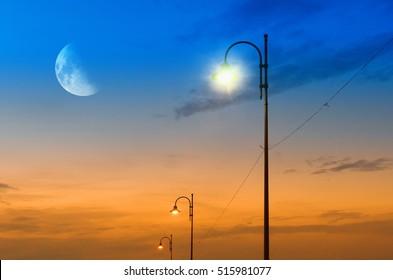 street lamps at moonlight