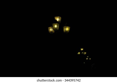 Street lamps in the night