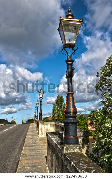 Street Lamps on Chertsey Bridge, Surrey, England, UK