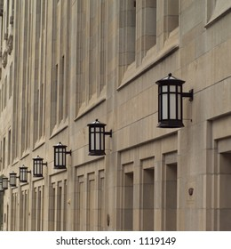 Street lamps on a wall of a Chicago Tribune Building
