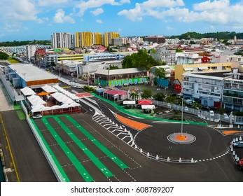 Street landscape of the city Pointe-a-Pitre, Guadeloupe