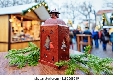 Street Lantern in Christmas Market at Gendarmenmarkt square in Winter Berlin, Germany. Advent Fair Decoration and Stalls with the Crafts Items on the Bazaar.