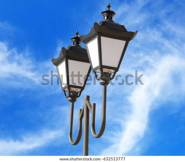 street lantern  on background blue sky