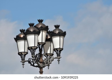 Street lanterns and clear sky