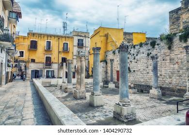 street life near Ruins of Santa Maria del Buonconsiglio ( Between the 9th and 10th century) in  Bari, region Puglia, Italy