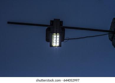 street light at blue hour.