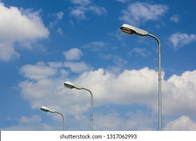 Street light and blue sky with cloud, Public lamp light.