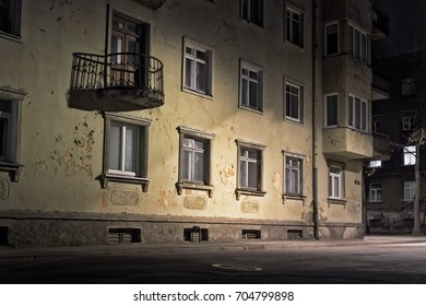 The street light creates beautiful shadows on the wall of an old building in Tallinn, the Capitol of Estonia.