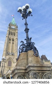 Street light in front of the Ottawa Parliament Clock Tower