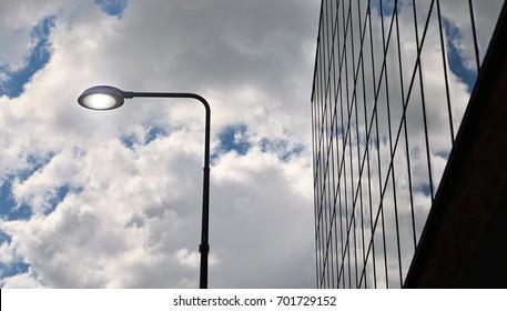 Street light near an industrial building