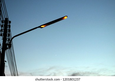 street light not be able to operate. Isolated on twilight sky backgrounds . Have copy space.