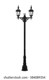 Street light pole isolated on a white background, with clipping path.