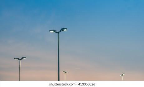 Street Light Pole at Sunset