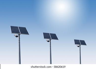 street light with solar panel 01
