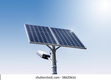 street light with solar panel 02