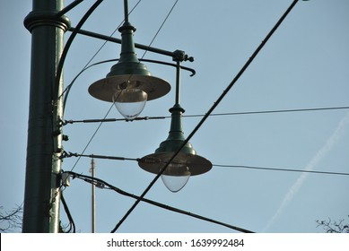 Street lighting intersected by wires