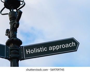 Street lighting pole with conceptual message Holistic Approach on directional arrow over blue cloudy background.