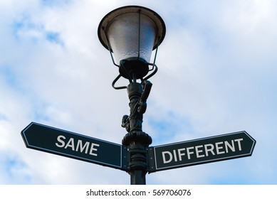 Street lighting pole with two opposite directional arrows over blue cloudy background. Same versus Different concept.