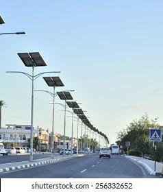 Street lighting with solar panel energy. November 12, 2014. El Khazan, Sharm El Sheikh. Egypt.