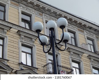 Street lights on the background of houses