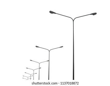 street lightting poles isolated on white background