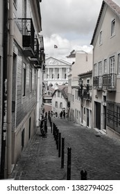 Street in Lisabon in black and white.  In the city centre. small street
