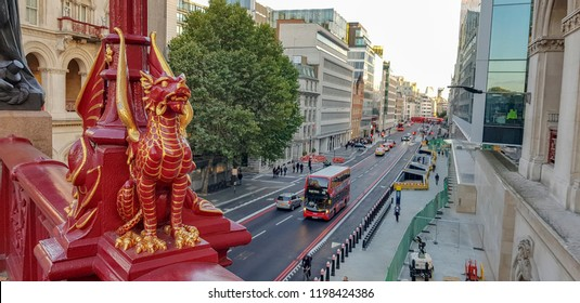 street of london view with red chinese dragon