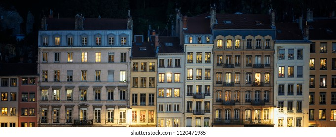 Street of Lyon by night, France.