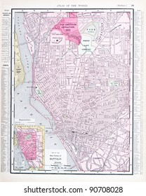 A street map of Buffalo, NY, USA from Spofford's Atlas of the World, printed in the United States in 1900, created by Rand McNally & Co.