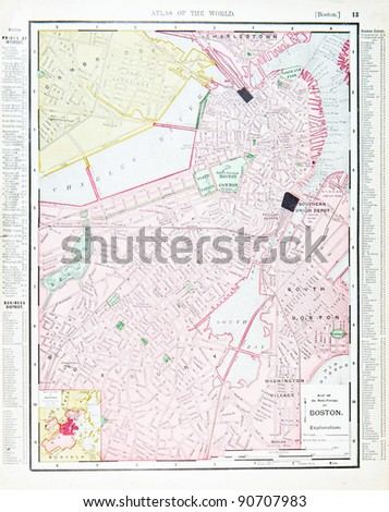 Street Map Downtown Boston Massachusetts USA Stock Photo ...