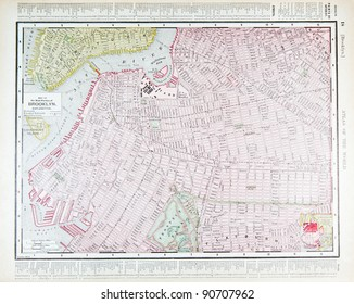 A street map of downtown Brooklyn, New York City, NY, USA from Spofford's Atlas of the World, printed in the United States in 1900, created by Rand McNally & Co.