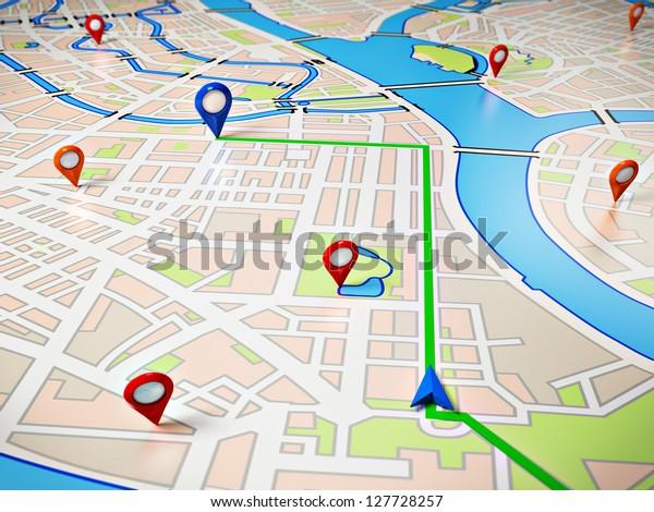 Street Kartta Gps Kuvakkeet Navigointi Arkistokuva Muokkaa Nyt