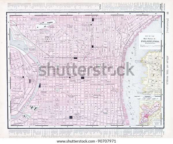 Street Map Philadelphia Pa Usa Spoffords | Vintage, Objects ...